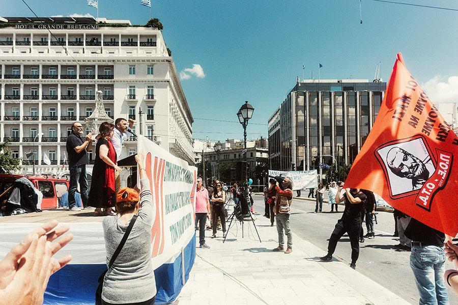 Athen, Griechenland (Mai 2017) - Demonstration vor dem Griechisches Parlament