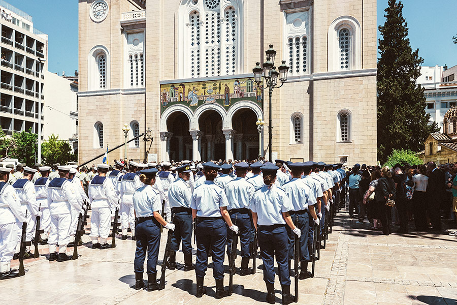 Athen, Griechenland (Mai 2017) - Trauerfeier für Konstantinos Mitsotakis (Kirche Metropolis)