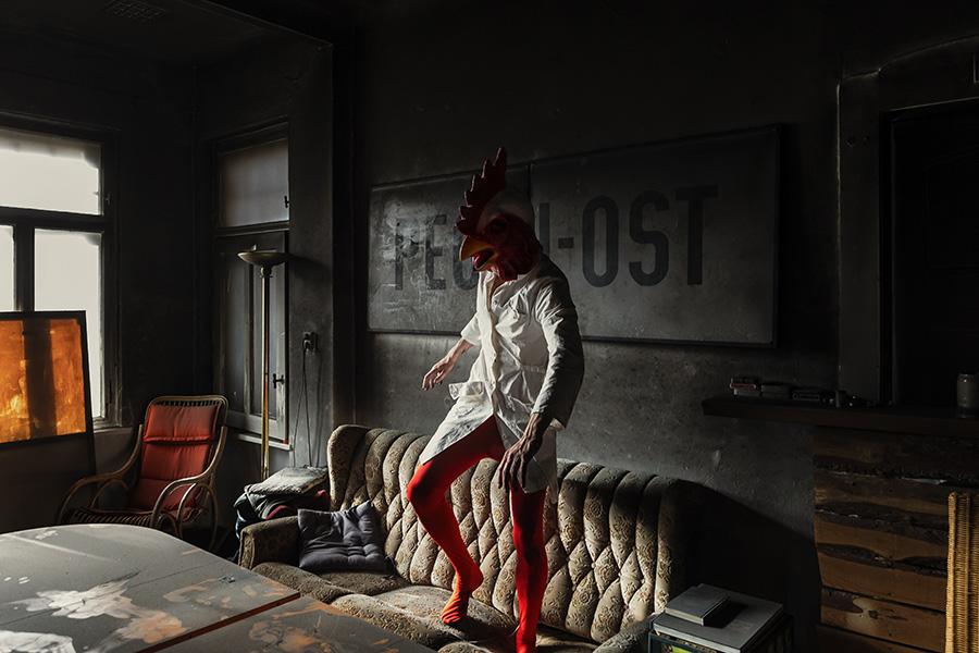 Feuer, Hahn, Hase, Fotokunst, Antje Kröger, Masken, Leipzig Feuer